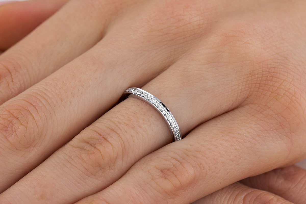 RDW178W-Verigheta cu Diamant/ Inel Eternity Dama Aur Alb 18kt cu 21 Diamante Rotund Briliant-img1