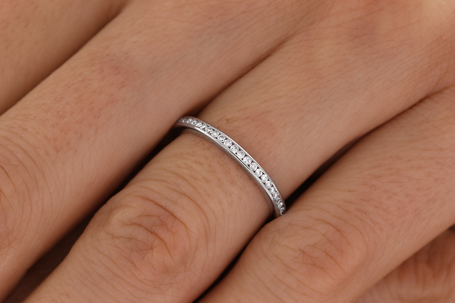 Full Eternity Ring Diamond Set Wedding For Women In Palladium With Round Brilliant Cut