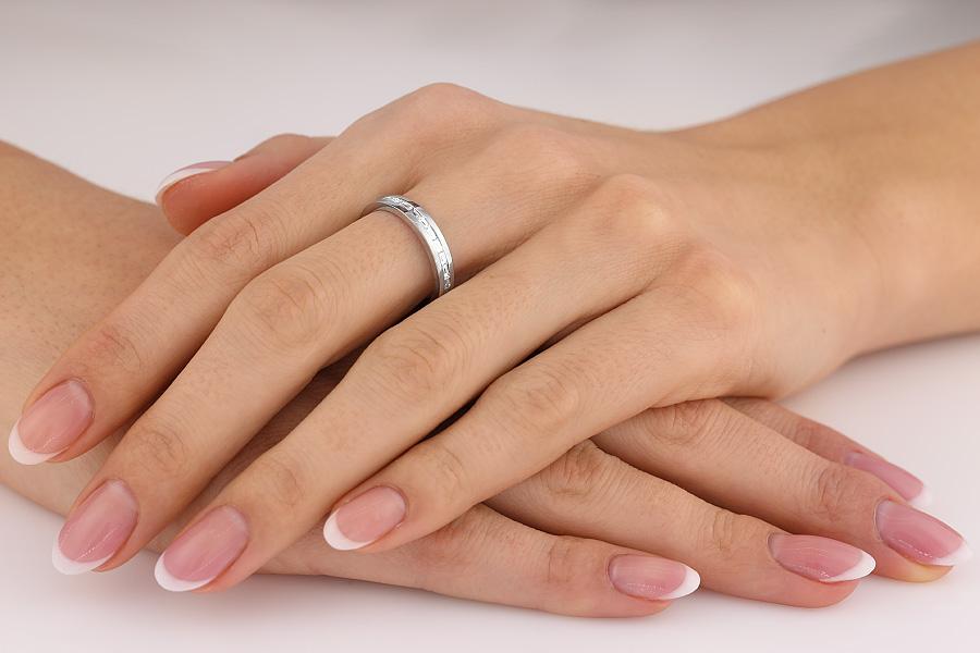 Inel Eternity/Verigheta cu Diamant Dama Aur Alb 18kt cu Diamante Bagheta de jur imprejur, Latime 3.5mm-img1