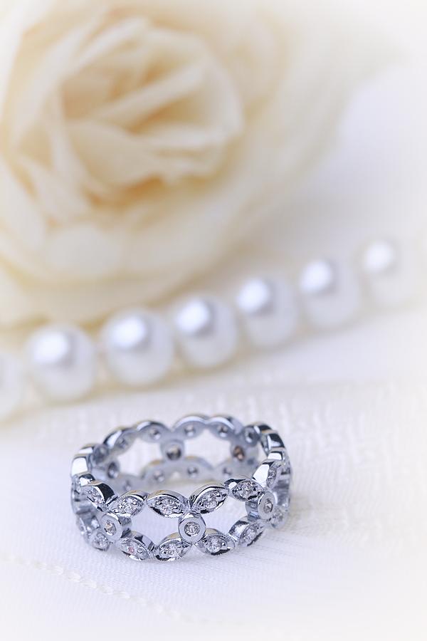 Inel Cocktail cu Diamante/Verigheta cu Diamant Dama Platina cu Diamante Rotund Briliant in Setare cu Gheare si Pavata, Latime 7.75mm-img1