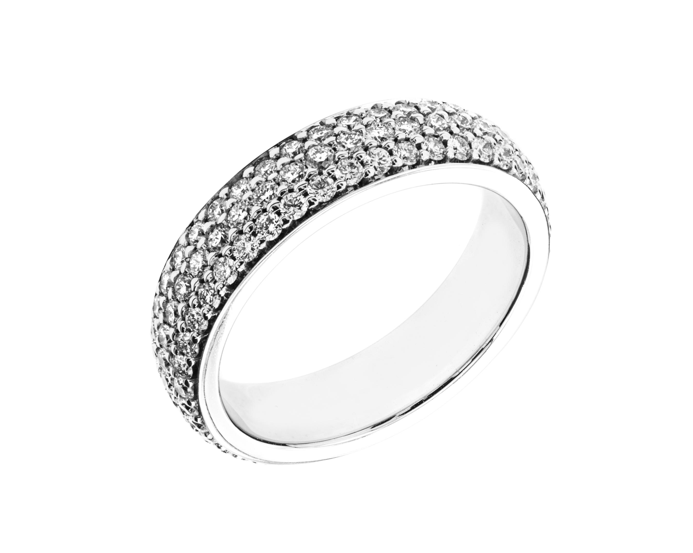 Verigheta cu Diamant/Inel Eternity Dama Aur Alb 18kt cu 3 Randuri de Diamante Mici Rotund Briliant in Setare Gheare-img1