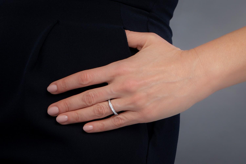 Verigheta cu Diamant/inel Eternity Dama Aur Alb, 18kt cu Diamante Rotund Brilliant in Setare Canal-img1