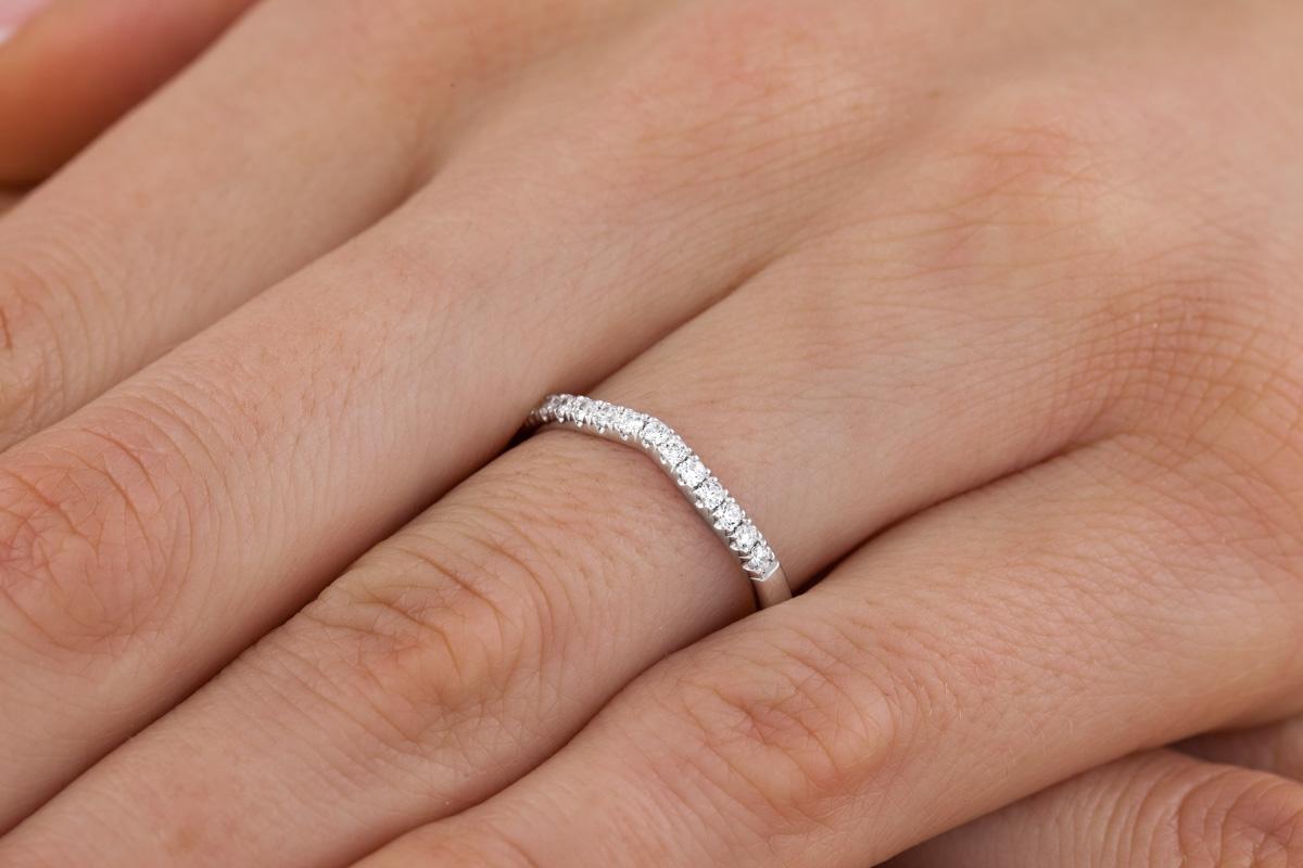 RDW221/9W Verigheta cu Diamant/ Inel Eternity Dama Aur Alb 9kt cu 13 Diamante Rotund Briliant-img1
