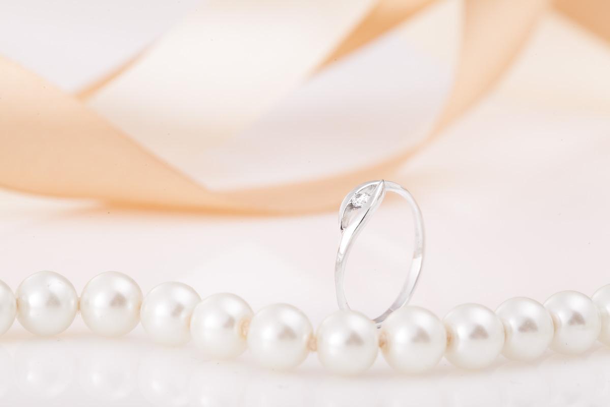 Inel de Logodna Solitaire Dama Aur Alb 14kt cu Diamant Rotund Briliant-img1