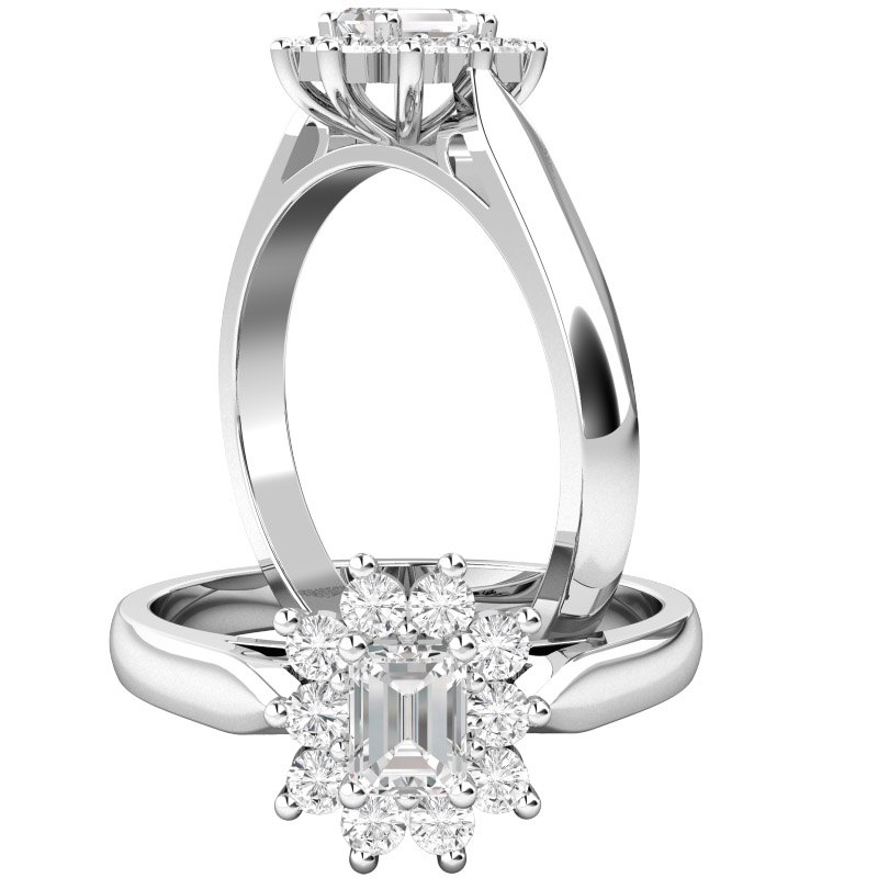 Cluster Engagement Ring For Women in 18ct White Gold with an Emerald Cut Centre and Round Diamonds Surrounding-img1