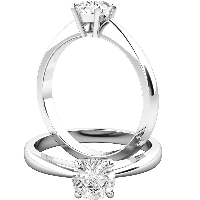 Single Stone Engagement Ring for Women in Palladium with a Round Diamond in a 4-claw Setting-img1