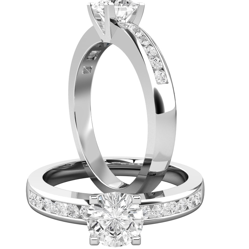 Single Stone Engagement Ring With Shoulders for Women in Platinum with a Round Cut Centre and Round Shoulder Diamonds-img1