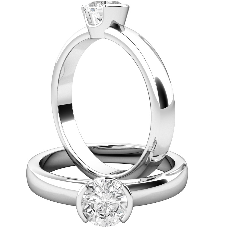 Single Stone Engagement Ring For Women In Platinum With A Round Brilliant Cut Diamond Semi Rub Over Setting