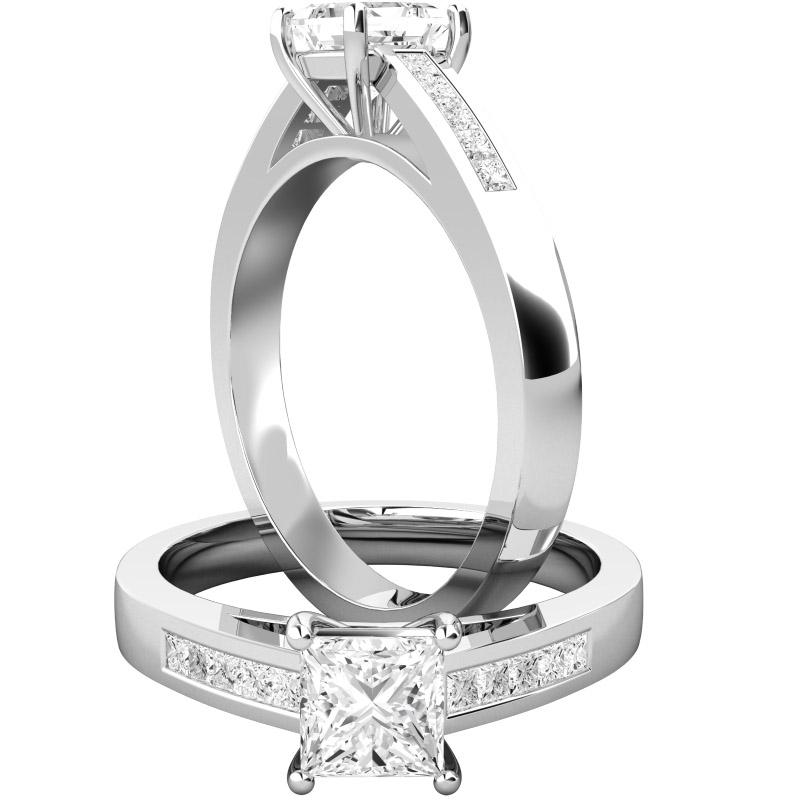 Cocktail Ring mit Diamanten für Dame in 18kt Weißgold mit einem zentralen Princess Schliff Diamanten und Princess Schliff Diamanten auf den Schultern-img1