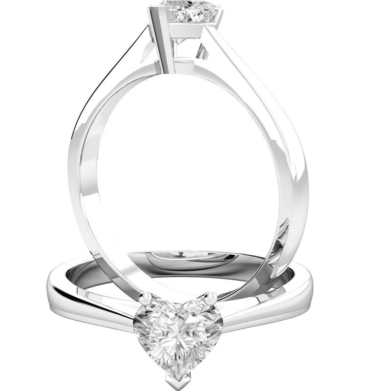 single stone engagement ring for women in 18ct white gold