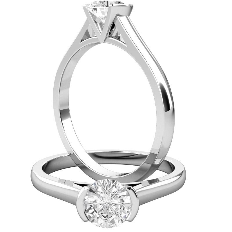Solitär Verlobungsring für Dame in 9kt Weißgold mit einem runden Brillantschliff Diamanten in Balkenfassung-img1