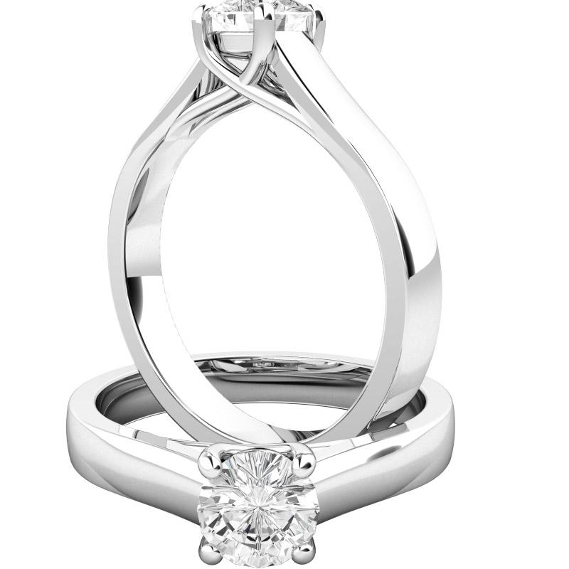 Inel de Logodna Solitaire Dama Platina cu un Diamant Rotund Briliant, Stil Elegant-img1