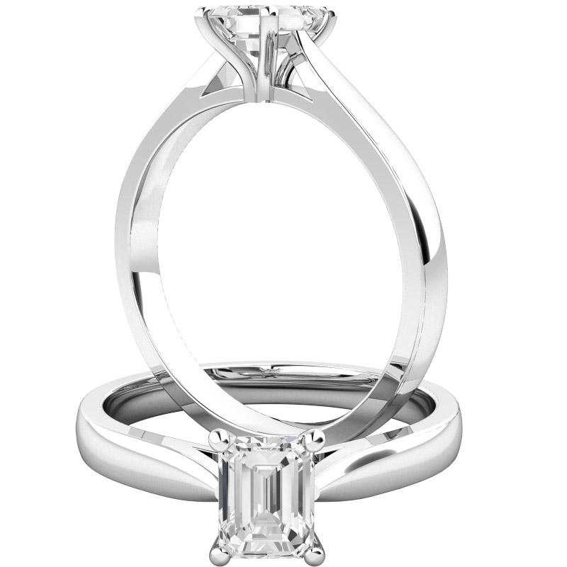 Inel de Logodna Solitaire Dama Platina 950 cu un Diamant Forma Smarald in Stoc-img1