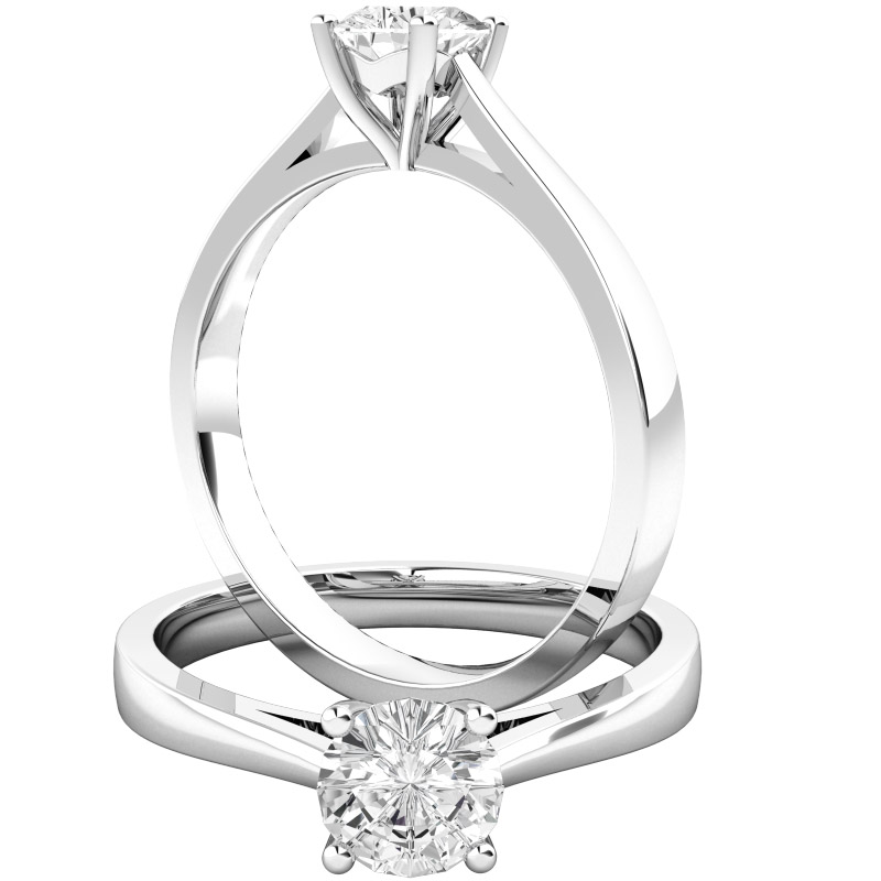 Single Stone Engagement Ring for Women in 9ct White Gold Set with a Round Diamond-img1