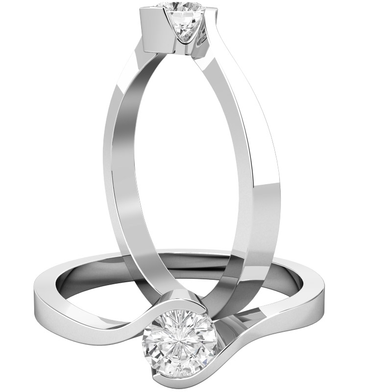 Inel de Logodna Solitaire Dama Aur Alb 18kt cu un Diamant Rotund Briliant in Setare Rub Over, Inel Twist-img1