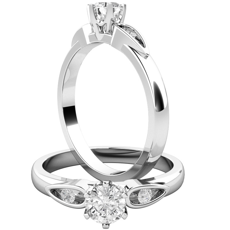 Inel de Logodna Solitaire cu Diamante Mici pe Lateral Dama Aur Alb 18kt cu un Diamant Rotund Briliant in Setare 6-Gheare si 2 Diamante Rotunde Briliant pe fiecare Parte-img1