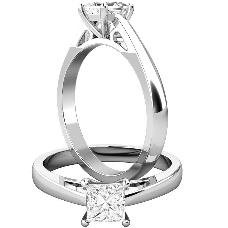 Solitär Verlobungsring für Dame in 18kt Weißgold mit einem Princess Schliff Diamanten in Eleganter Krappenfassung-img1