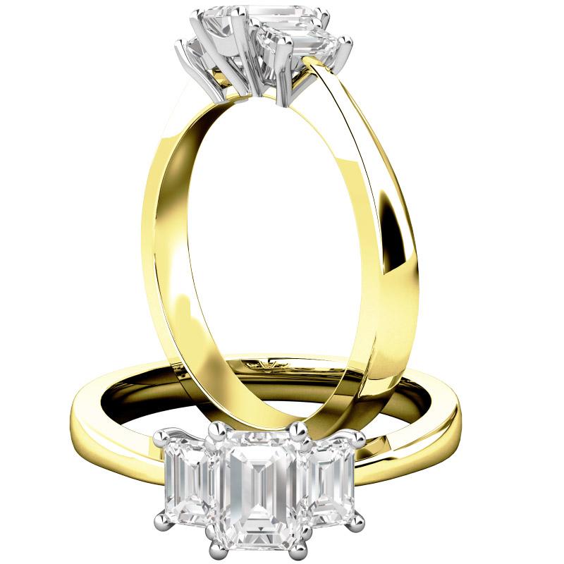 Drei-Steine Ring/Verlobungsring für Dame in 18kt Gelbgold und Weißgold mit 3 Smaragd Schliff Diamanten-img1