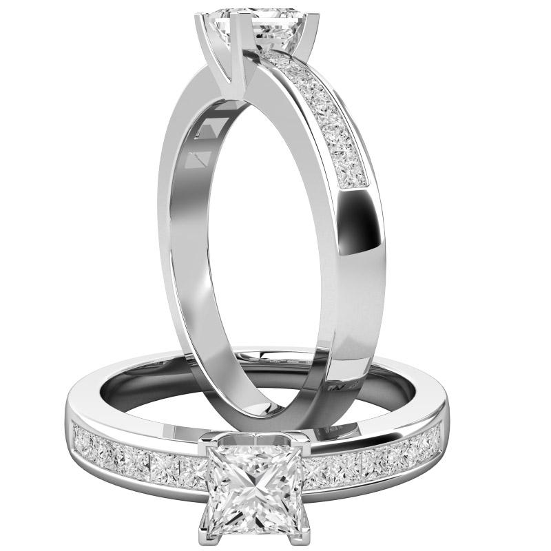 Inel de Logodna Solitaire cu Diamante Mici pe Lateral Dama Aur Alb 18kt cu un Diamant Princess in Setare Gheare si Diamante Princess in Setare Canal-img1