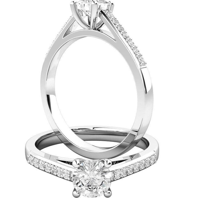 Inel de Logodna Solitaire cu Diamante Mici pe Lateral Dama Aur Alb 18kt cu Diamante Rotund Briliant in Setare Gheare-img1