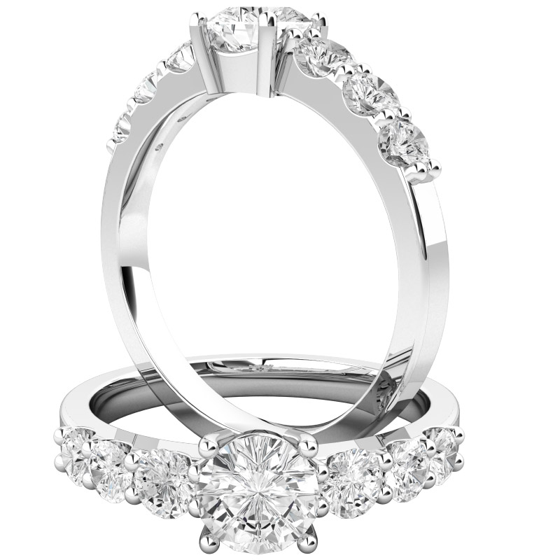 Single Stone Engagement Ring With Shoulders/Multi Stone Engagement Ring for Women in Platinum with Seven Round Brilliant Cut Diamonds-img1