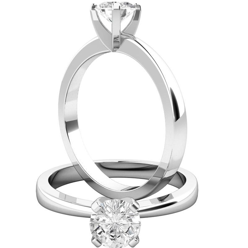 Inel de Logodna Solitaire Dama Platina cu un Diamant Rotund Briliant, Stil Clasic-img1