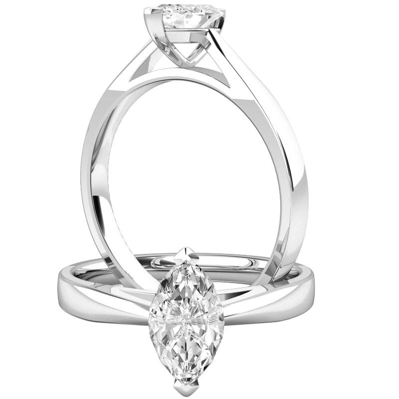 Inel de Logodna Solitaire Dama Aur Alb 18kt cu un Diamant Forma Marchiza-img1