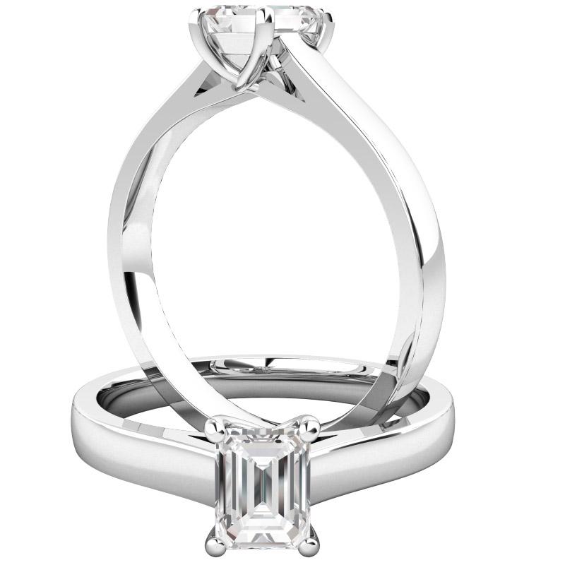 Solitär Verlobungsring für Dame in 18kt Weißgold mit einem Smaragd-Schliff Dimanten-img1
