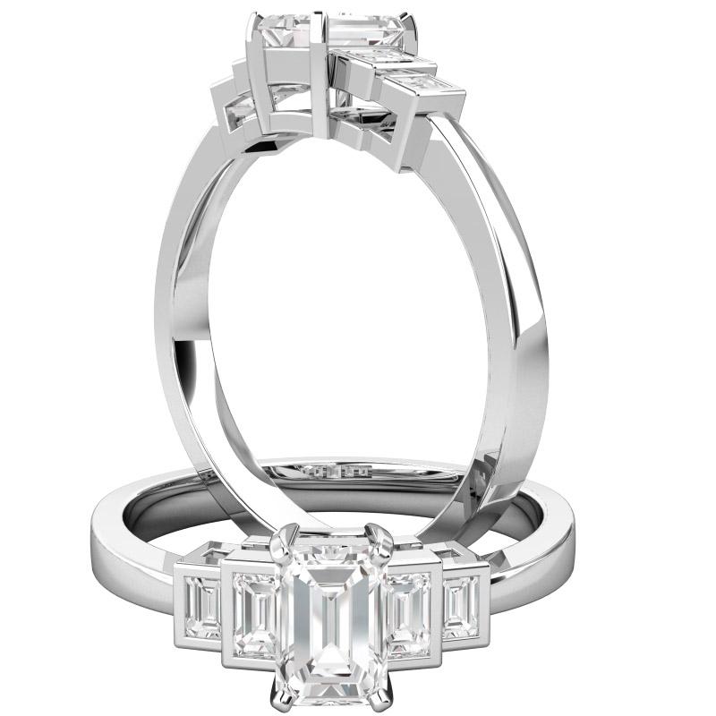 Inel de Logodna cu Mai Multe Diamante/ Solitaire cu Diamante Mici pe Lateral Dama Aur Alb 18kt cu un Diamant Smarald si Diamante Bagheta pe Margini-img1