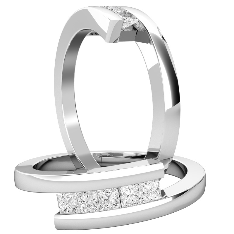 Dress Cocktail Ring/Multi Stone Engagement Ring for Women in 18ct white gold with 5 princess cut diamonds on a twist-img1