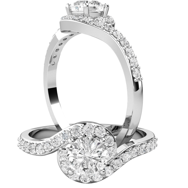 Inel de Logodna Solitaire cu Diamante Mici pe Lateral Dama Aur Alb 18kt cu Diamant Rotund Briliant in Centru si 26 Diamante Mici Rotunde Imprejur In Setare Gheare-img1