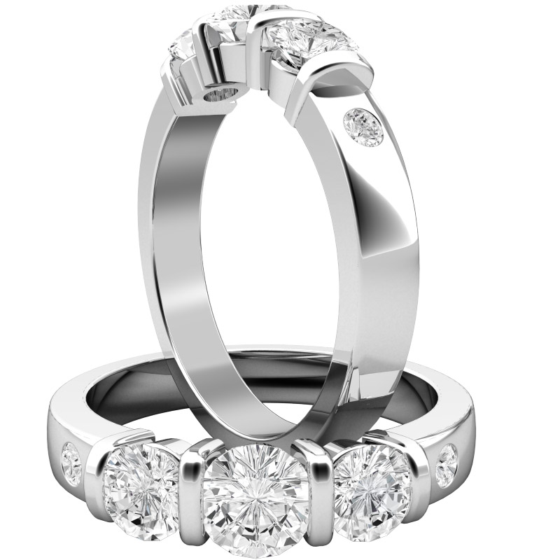 Three Stone Ring with Shoulders Multi Stone Engagement Ring for women in 950