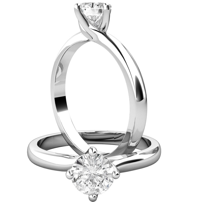 Inel de Logodna Solitaire Dama Aur Alb 18kt cu un Diamant Rotund Briliant in Setare 4-Gheare, Montura Rasucita-img1