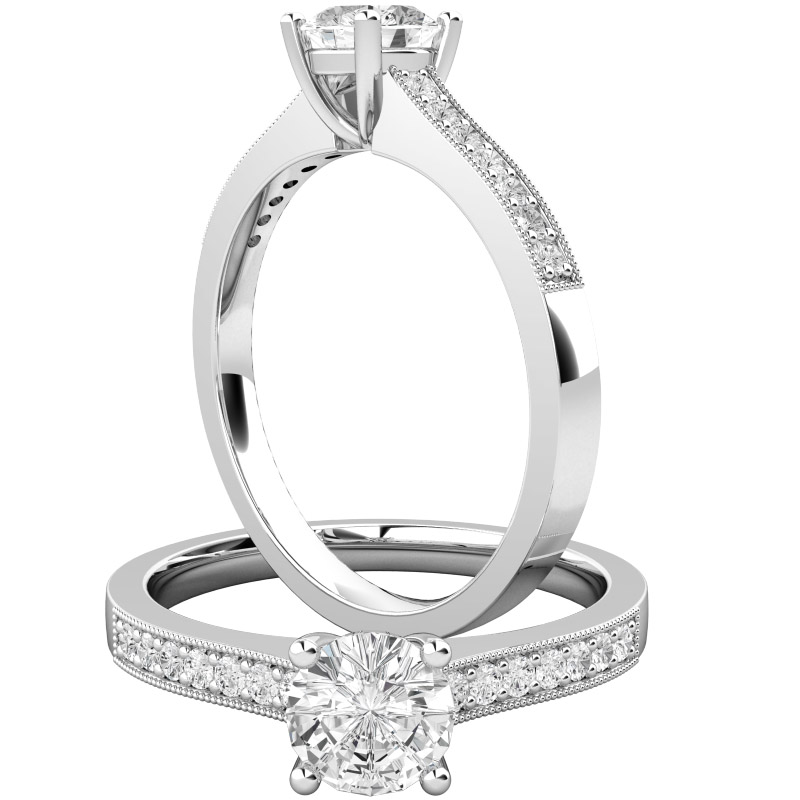 Inel de Logodna Solitaire cu Diamante Mici pe Lateral Dama Aur Alb 18kt Setat cu Diamant Central Rotund Briliant si Diamante Rotund Briliant pe Lateral-img1