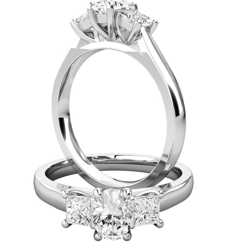 Inel cu 3 Diamante Dama Aur Alb 18kt cu un Diamant Oval si 2 Diamante Princess in Setare Gheare-img1