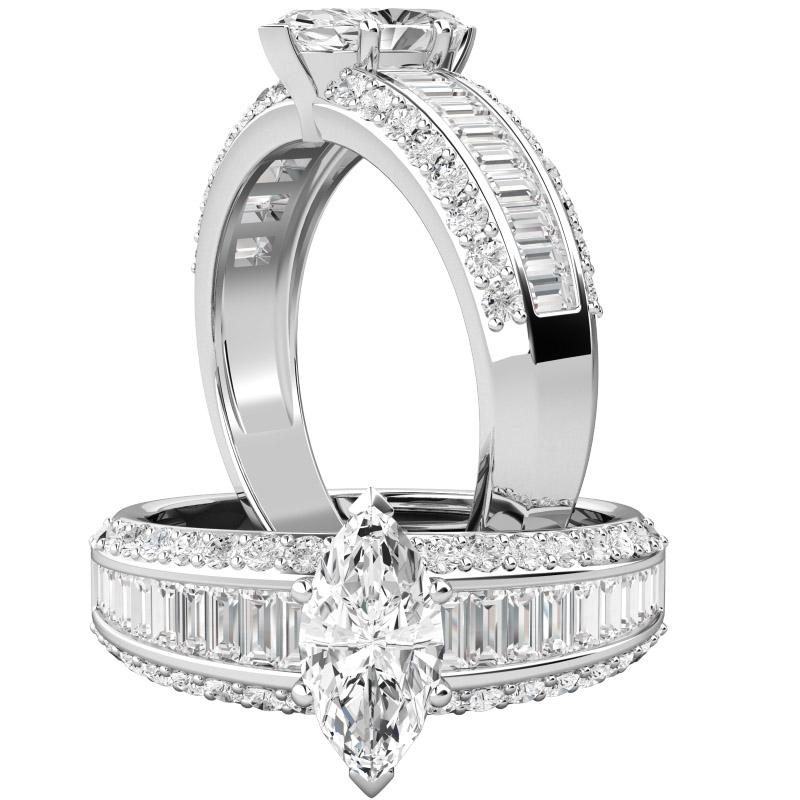 Inel de logodna cu Diamante Dama Aur Alb 18kt cu un Diamant Marchiza in Setare Gheare si Diamante Bagheta si Rotund Briliant pe Margini-img1