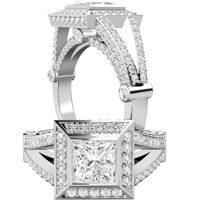 RD508PL - Inel platină cu un diamant princess cu setare rub-over în centru, și diamante rotunde brilliant setate cu gheare în jur și pe laterale-img1