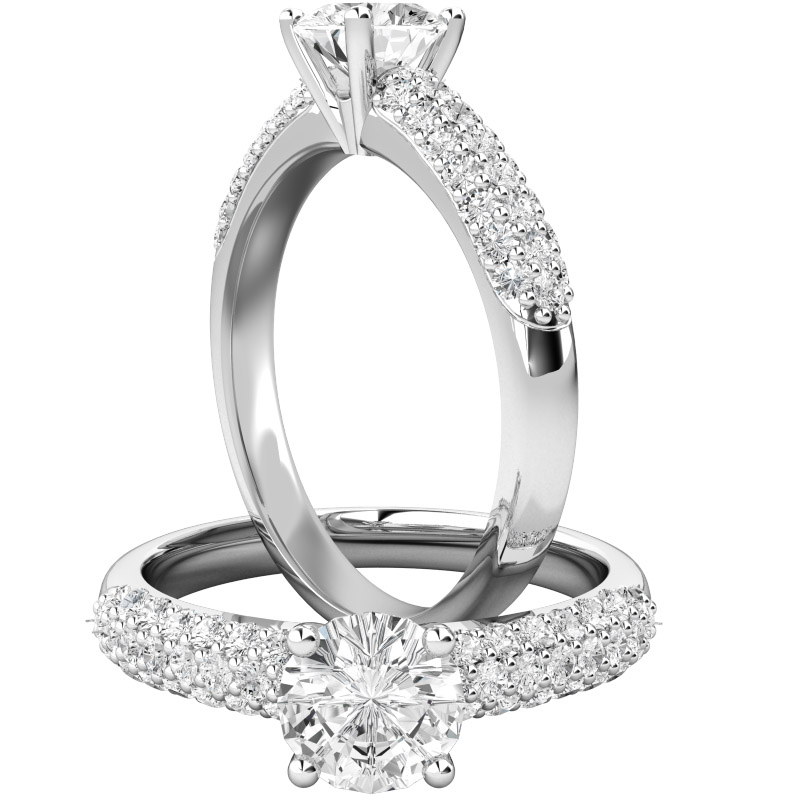 Inel de Logodna Solitaire cu Diamante Mici pe Lateral Dama Aur Alb 18kt cu un Diamant Central Rotund Briliant si Diamante pe Lateral Asezate in 3 Randuri-img1