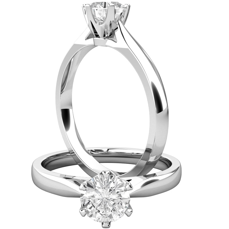 Single Stone Engagement Ring for Women in 9ct White Gold with a Round Brilliant Cut Diamond with a Claw Setting-img1