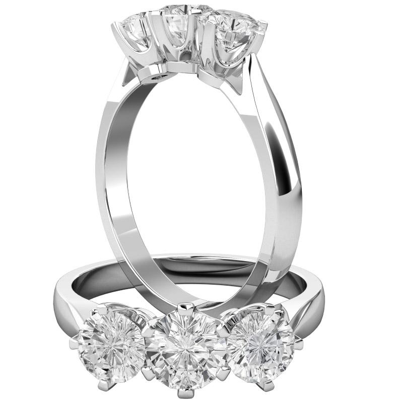 Inel de Logodna cu 3 Diamante Dama Aur Alb 18kt cu 3 Diamante Rotund Briliant in Setare Gheare-img1