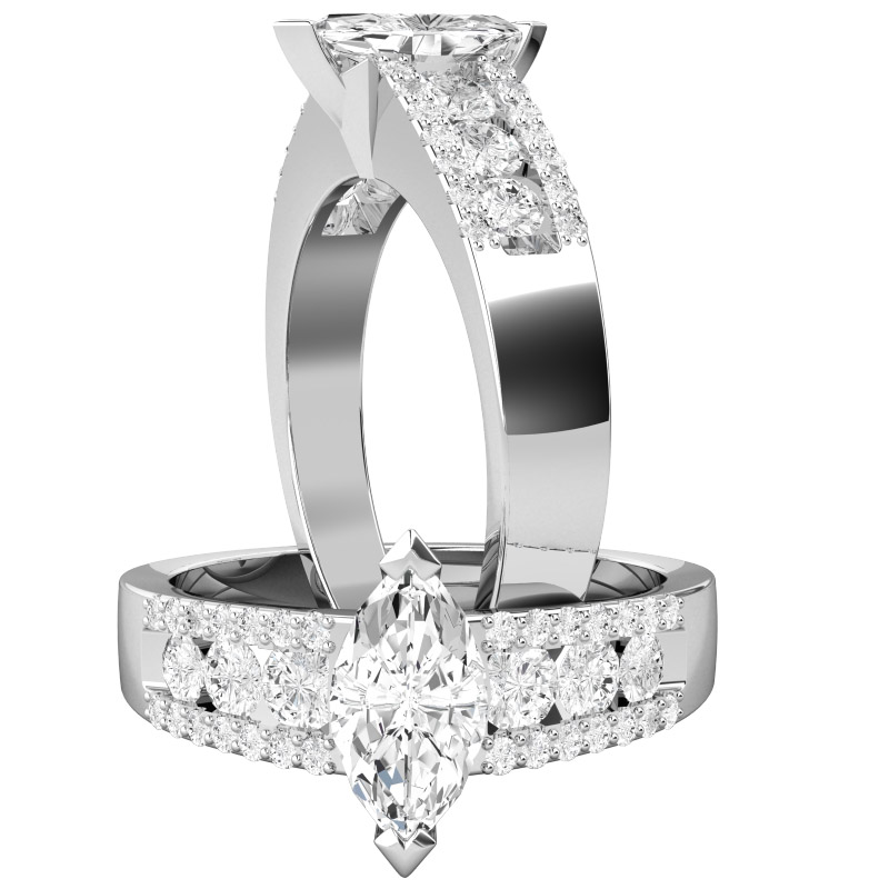 Inel de Logodna Solitaire cu Diamante Mici pe Lateral Dama Aur Alb 18kt cu Diamant Central in Forma Marchiza si Diamante Rotund Briliant pe Margini-img1