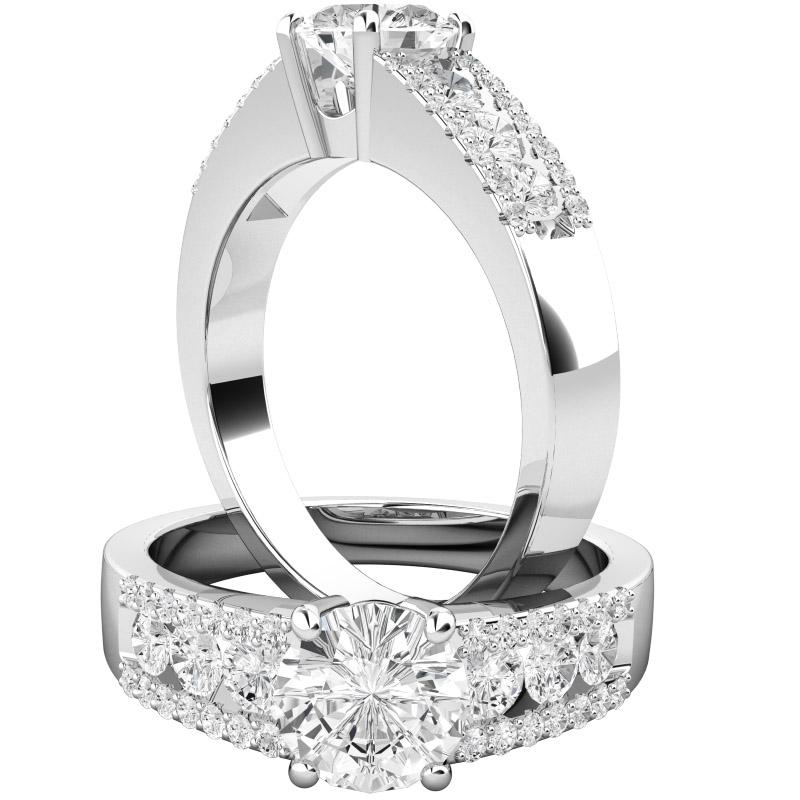 Inel de Logodna Solitaire cu Diamante Mici pe Lateral Dama Aur Alb 18kt cu un Diamant Rotund Briliant Central si Diamante pe Lateral in Setare Canal si Gheare-img1