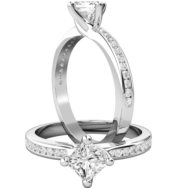 Solitär Verlobungsring mit Schultern für Dame in 18kt Weißgold mit einem Princess Schliff Diamanten in Krappenfassung und runden Brillanten in Kanalfassung-img1
