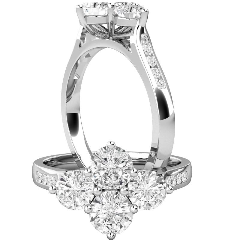 Inel de Logodna Cluster Dama Aur Alb 18kt cu 4 Diamante Rotund Briliant in Setare Gheare si Diamante Rotund Briliant pe Margini in Setare Canal-img1