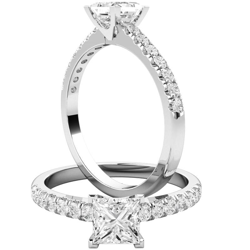 Inel de Logodna Solitaire cu Diamante Mici pe Lateral Dama Aur Alb 18kt cu un Diamant Princess si 14 Diamante Rotund Briliant toate Setate cu Gheare-img1