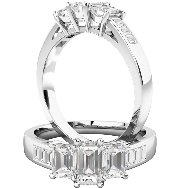 Inel de Logodna cu 3 Diamante Dama Aur Alb 18kt cu 3 Diamante in Forma Smarald in Setare Gheare si Diamante in Forma Bagheta pe Lateral-img1