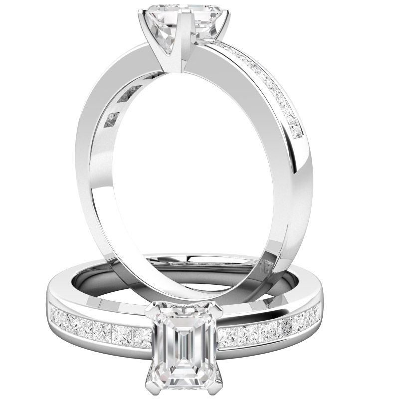 Inel de Logodna cu Diamante Dama Aur Alb 18kt cu un Diamant Forma Smarald si Diamante Mici Forma Princess pe Margini-img1
