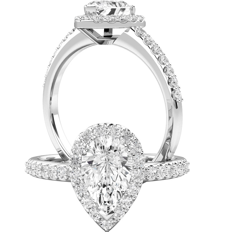 Art Deco Style Ring/Diamond Cluster Engagement Ring for Women in platinum with a pear shaped diamond surrounded by small round brilliant cut diamonds all in a claw setting-img1
