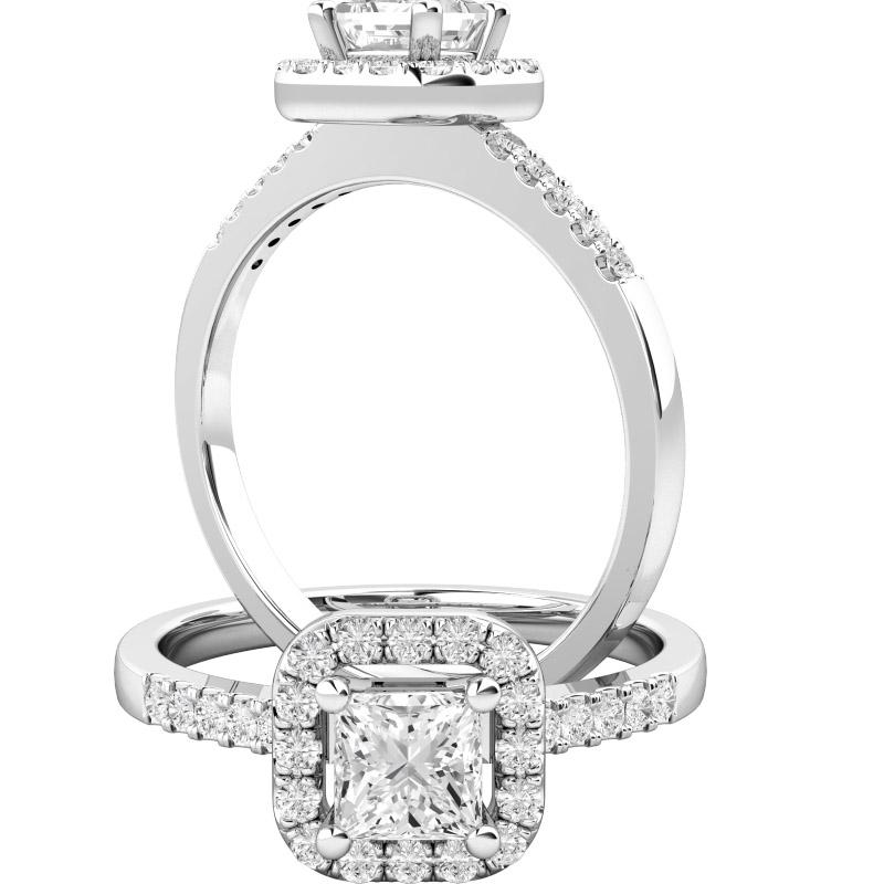 Inel Cocktail/Inel de Logodna cu Diamante Dama Aur Alb 18kt cu Diamant Central Forma Princess si Diamante Mici pe Margini-img1