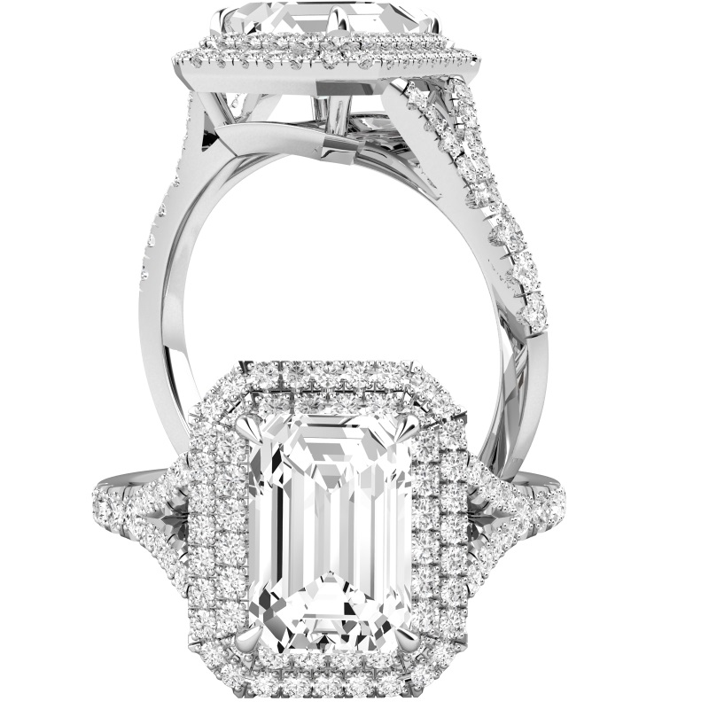 Inel de Logodna cu Diamante Dama Platina 950 cu Diamant Central Taietura Smarald si Diamante Mici Rotund Briliant Imprejur si pe Lateral-img1